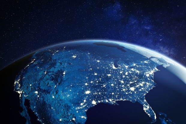 View of US from space with city lights