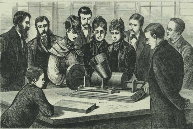 Victorians listening to gramophone talking book