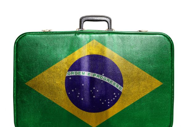 Vintage travel bag with map of Brazil
