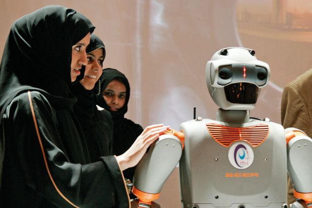 Visitors touch REEM-B robot, Pal Technology Robotics, Abu Dhabi, 2008