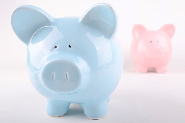 Wage inequality illustrated by blue and pink piggybanks