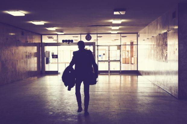 Walking through hallway