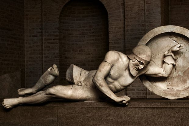 Greek sculpture of dying warrior