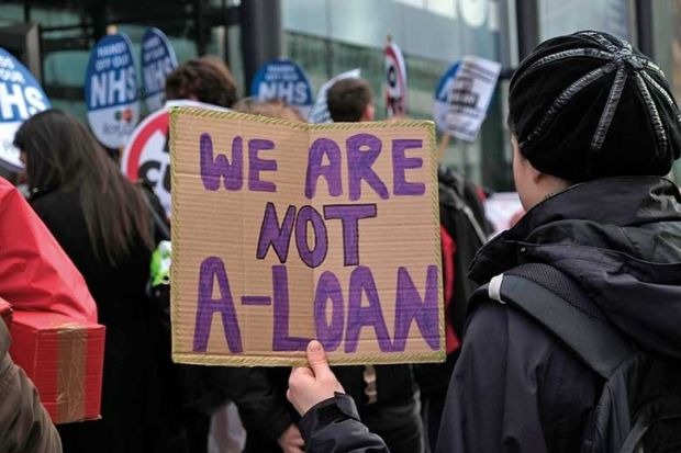 Students protest outside the Department for Business and Skills against the sell-off of student loans