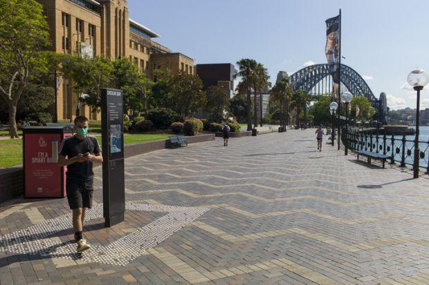 Wearing a mask in Sydney