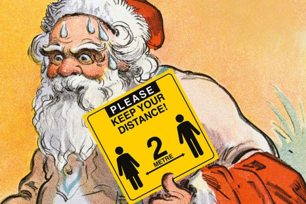 Santa sweating holding a sign reading, 'Please keep your distance!'