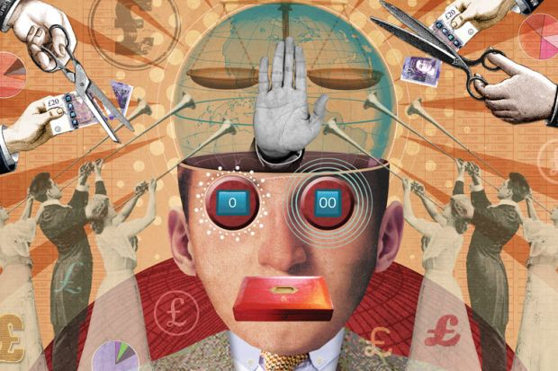 Illustration collage of a head with hand and scales inside and money cut and people playing long trumpets looking up at head to reflect GCRF cuts but having to support one particular cause is not academic freedom by-Miles-Cole.jpg
