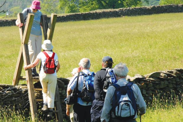 Group of elderly people on walking holiday negotiating a ladder access over a wall between fields, English Lake District