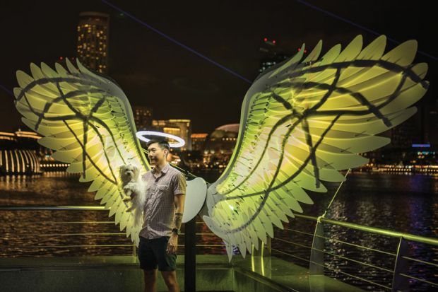 Person being photographed in a light installation in Singapore as the Arts university a milestone for Singapore