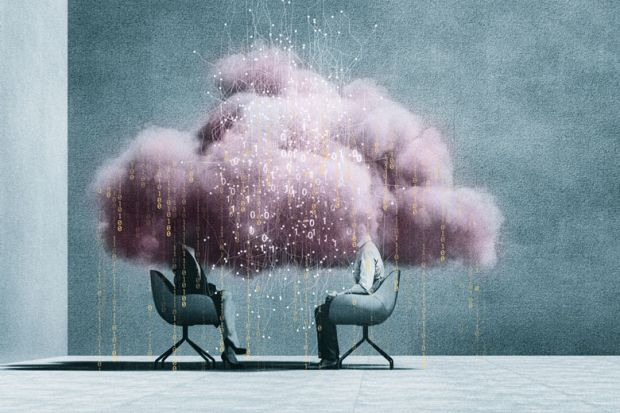 Two people sitting with pink cloud of data as a metaphor for Artificial intelligence will soon be able to research and write essays as well as humans can