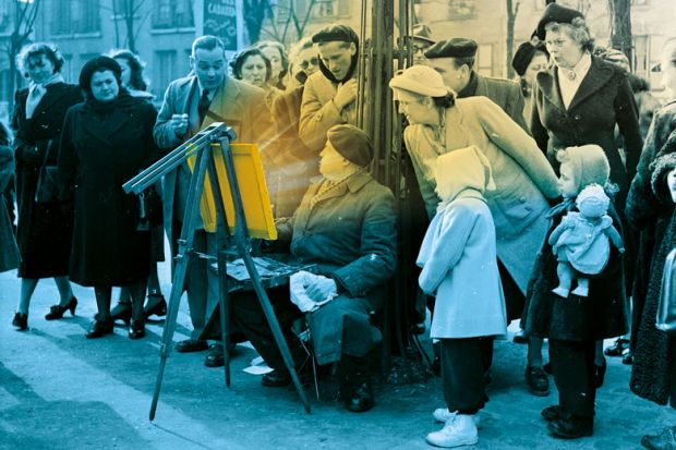 An artist sets up his easel on Montmartre in Paris, and immediately attracts a curious crowd of onlookers.