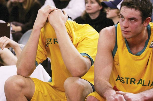 Andrew Bogut (C) of the Boomers looks dejected after the Boomers lose the Resi Mortgage Test Series match between the Australian Boomers and the New Zealand Tall Blacks at Vodafone Arena.