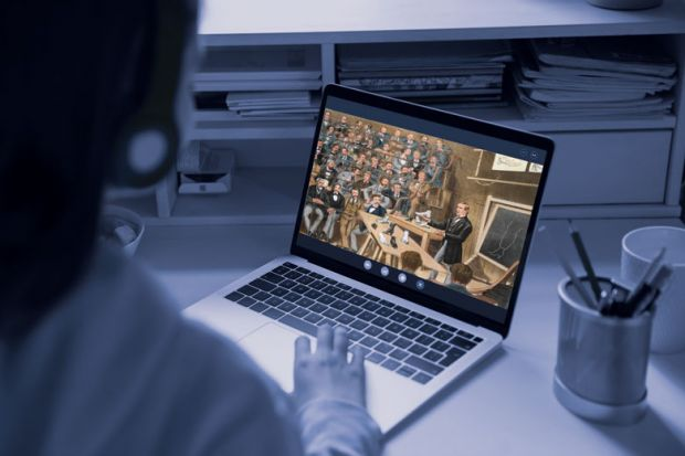 Student looking at laptop, screen has image of a historic painting with men attending a class lecture.