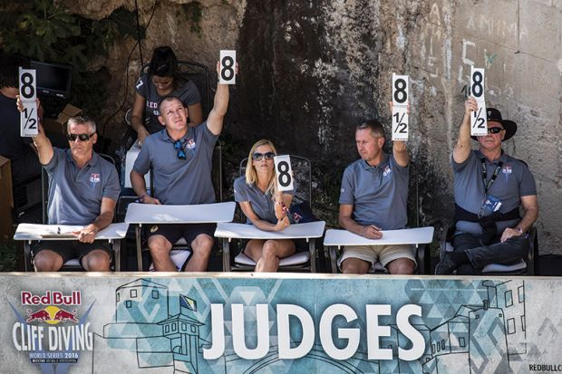 Row of judges hold up cards with numbers for a cliff diving competition as a metaphor for titles at stake in Australian audit