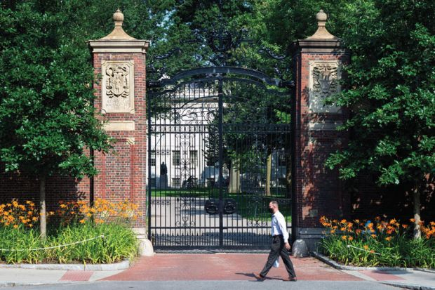 Harvard University person walking infant of closed entrance as a metaphor for rejection