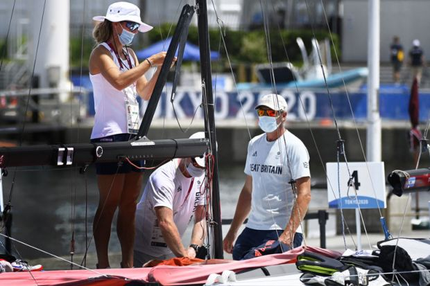 Great Britain team on a sailing boat during the Tokyo 2020 Olympic Games sailing competition as a metaphor for Covid crisis: 'everybody was in the same boat'