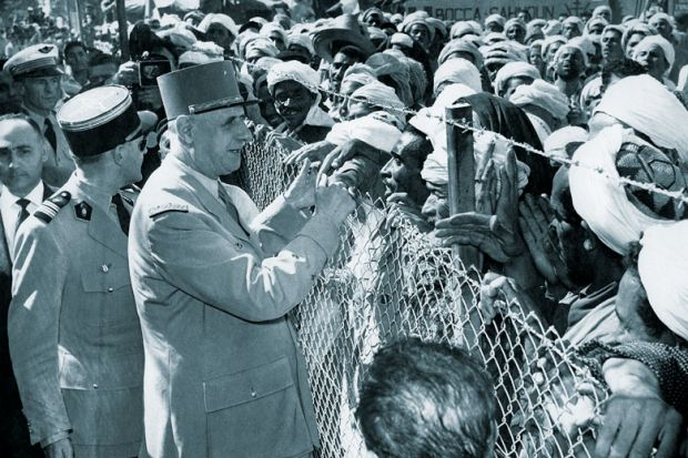 French General Charles de Gaulle meeting Algerians during his visit to Orleansville, for French historians 'being shut out ofstate archives'