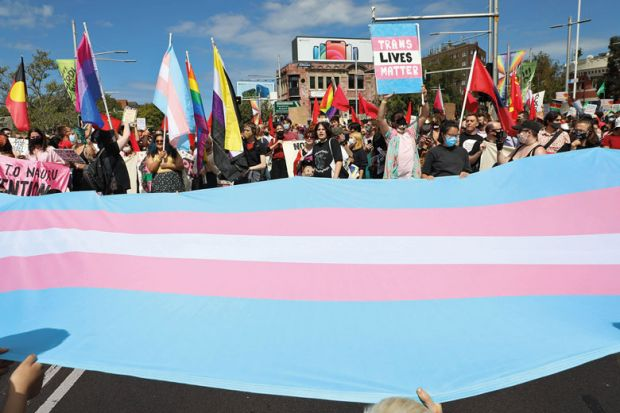 group known as Pride in Protest  march along parade route from Taylor Square to Hyde Park for  Gender transition leave risesup Australian union's agenda