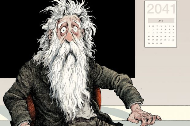 Illustration of Professor Van Winkle wakes up with 2041 calendar on the wall as described in the story.