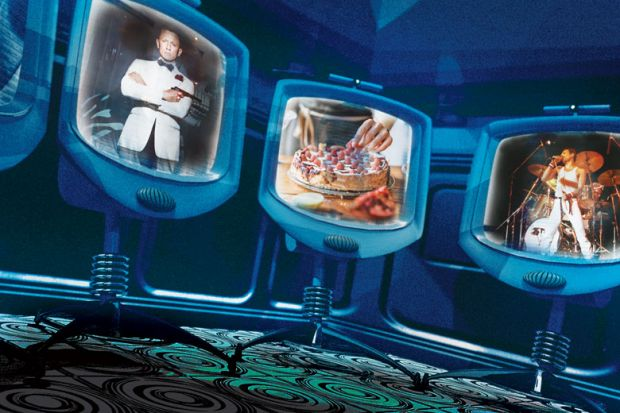 Three screen monitors with James Bond, Cake baking and Freddie Mercury singing.