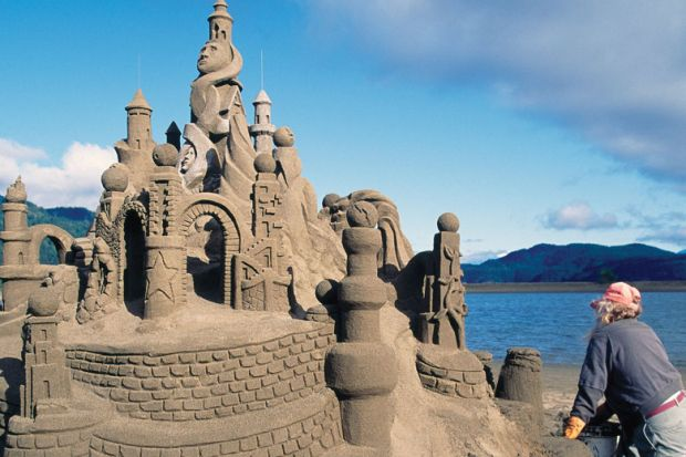 Sand Castle Sculpture on Beach