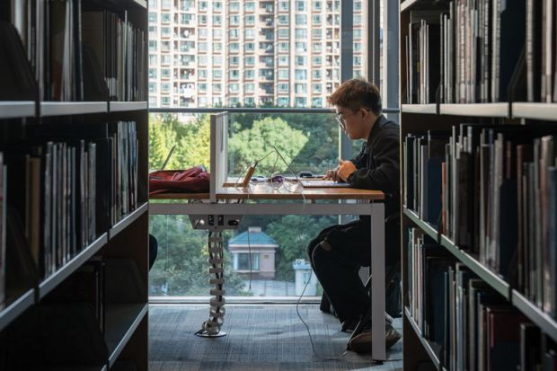 A student studies in the library at the New York University Shanghai campus, China.