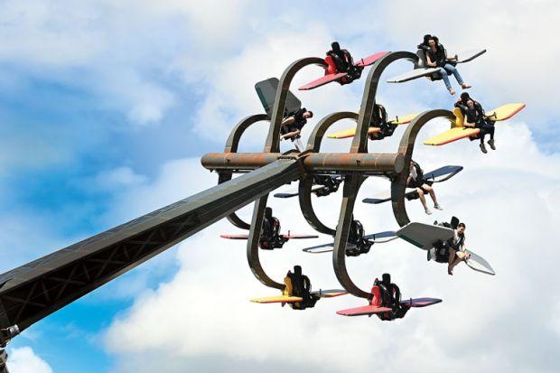Patrons enjoy the rides at Dreamworld, Gold Coast, Australia