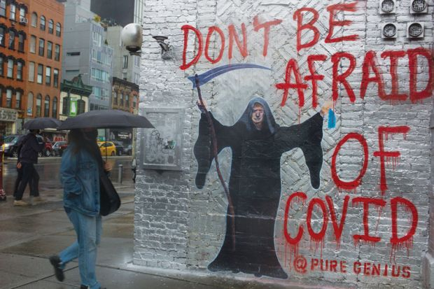 An anti-Trump mural decorates a wall as New Yorkers remain worried about a return of the COVID-19 pandemic in the city