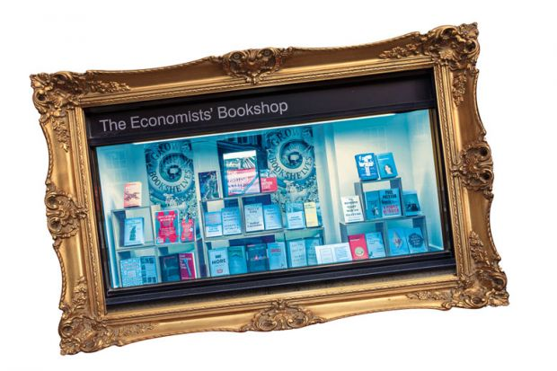 Montage of a book shop window inside a gold picture frame