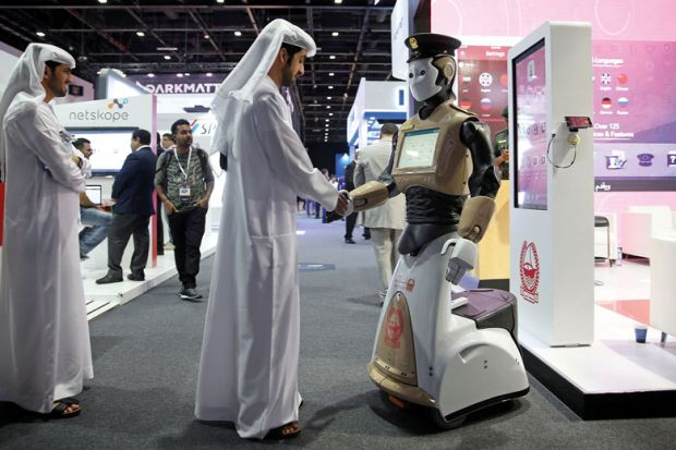 shake hands with robot