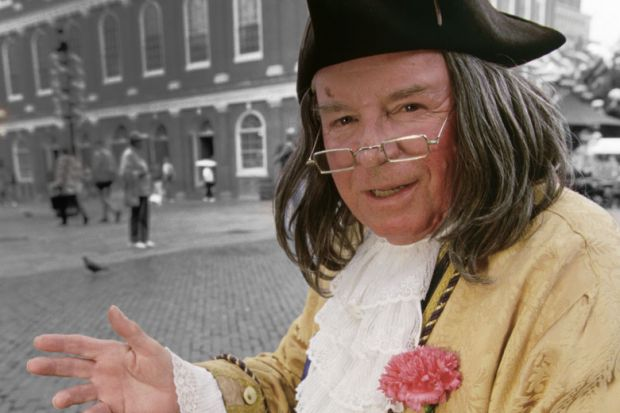 An actor impersonating Ben Franklin