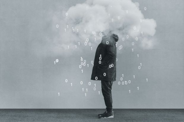 Casual young man with head in cloud and coding flowing out