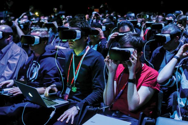 crowd wearing VR devices