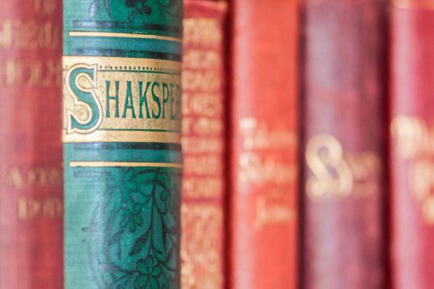 William Shakespeare books on bookshelf