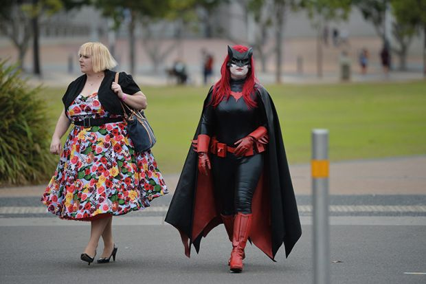Woman dressed as a superhero