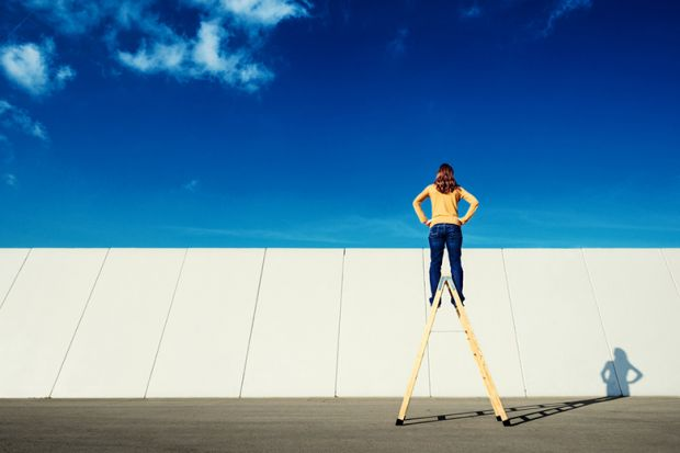 Woman on ladder looking over wall