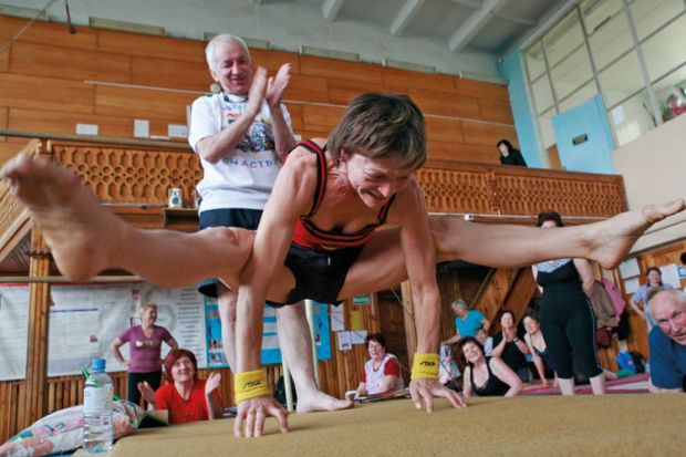 Woman performing hatha yoga, Stavropol, Russia