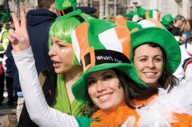 Women celebrating Saint Patrick's Day, Ireland