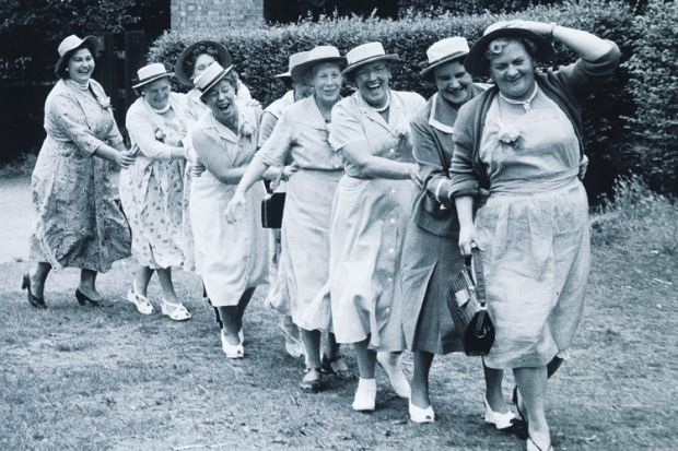 Women in conga line, 1950s
