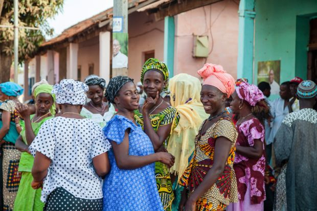 Women in Guinea-Bissau gather for a wedding ceremony
