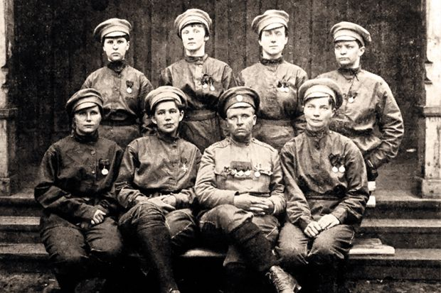 The staff of Lieutenant Maria Bochkareva's Russian Women's Battalion  of Death, in which 'giggling was strictly forbidden'