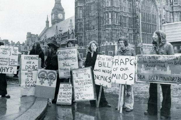 Womens Liberation Movement protesting against Sex Discrimination Act, House of Commons, London
