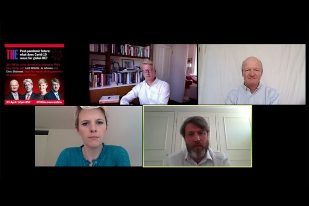 Jo Johnson, Lord Willetts and Chris Skidmore with Sara Custer. Zoom webinar 23rd April 2020.