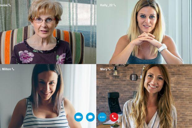 Four women on a video call screen