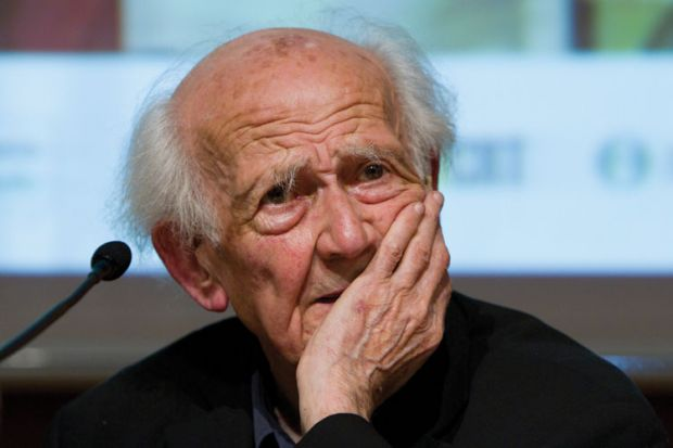 Zygmunt Bauman with hand over mouth