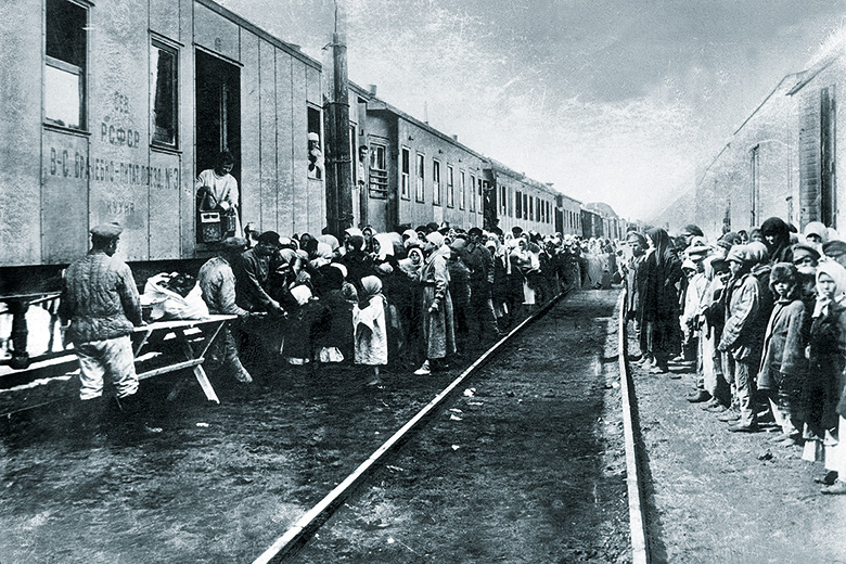 Supplies train for Russian transported convicts during deportation to Siberia