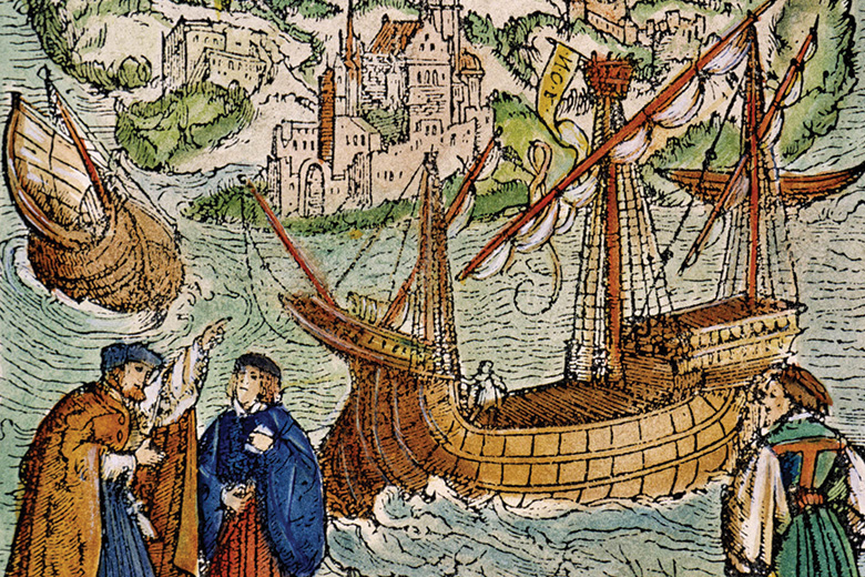The View of Utopia woodcut (detail), from Sir Thomas More's Utopia, 1518