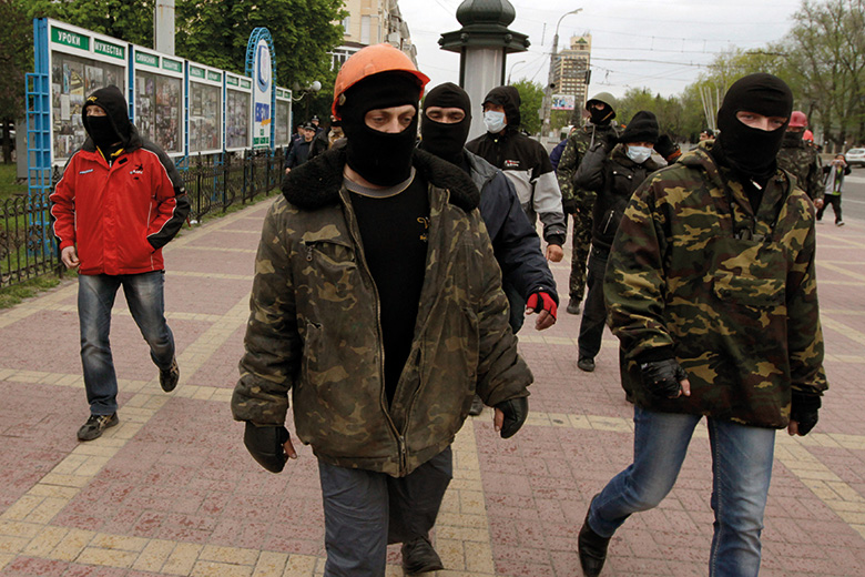 Pro-Russian activists in Luhansk, Eastern Ukraine