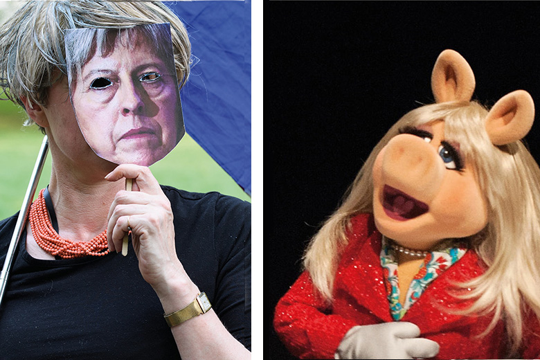 Theresa May mask and Miss Piggy