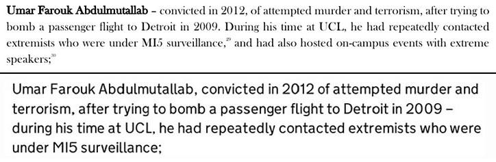 Umar Farouk Abdulmutallab: text from reports